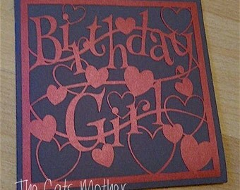 Birthday Girl Hearts Paper Cutting Template - Commercial Use