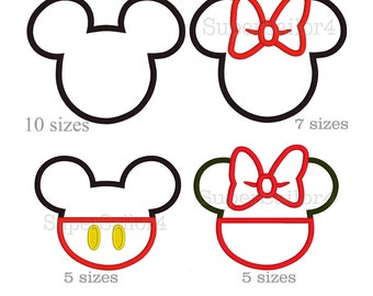 Mouse applique design, Mickey applique design, Minnie applique design, Mikey embroidery