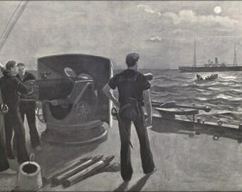 24x36 Poster . On The Blockade Off San Juan 1898 War With Spain