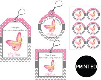 Printed Butterfly Kisses And Baby Wishes Girl Baby Shower , Gift Tags, Favor Tags,  Labels, Stickers, Party Supplies