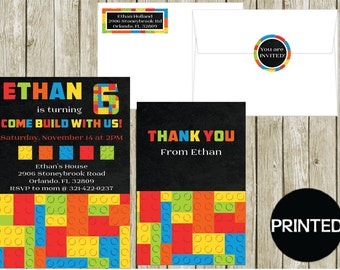Printed COLORFUL BUILDING BLOCKS Boys Birthday Invitations Thank You Cards Notes, Address Labels Stickers Envelope Seals Party Supplies