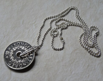Norwegian 5 Kroner Coin Necklace