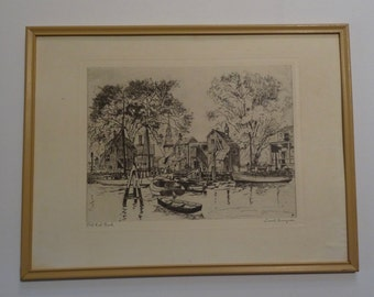 """SALE!  REDUCED PRICE!  Lionel Barrymore Print """"Old Red Bank"""""""