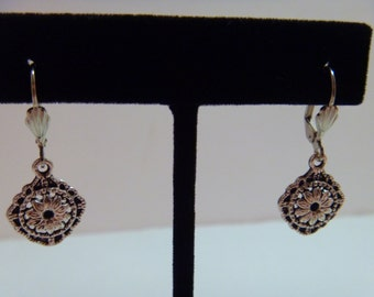 Silver Drop Earrings Lever Back Flower Charm Evening Wear Daytime Wear