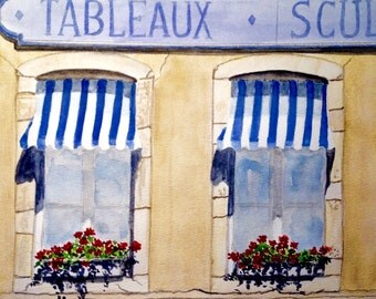 French bistro, original watercolor, 8x10 inches