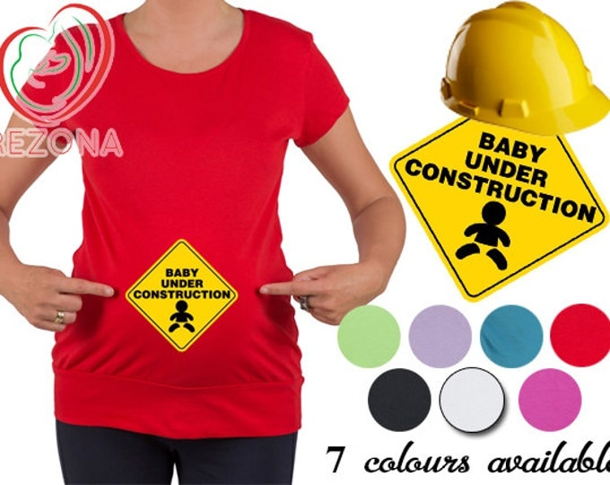 New Maternity Pregnancy Baby Under Construction with flex print, baby top tunic t-Shirt