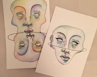 Watercolor and Ink illustration- Seeing Double