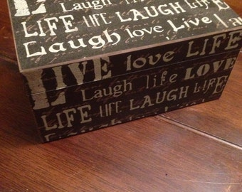 Essential Oil Box that holds 15 (15ml) bottles live laugh love life/storage/box/oil box/dividers