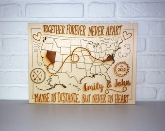 Wedding Gift For Distant Friend : ... gift for friend -US map - wooden sign - gift for lovers - wedding gift