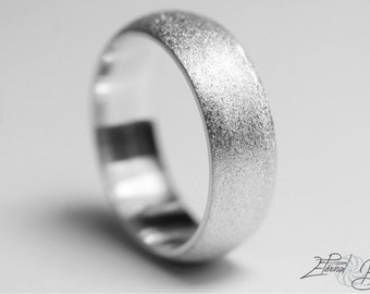 14k Solid White Gold Wedding Band, Matte Wedding Band, Brushed Wedding Band, 7mm, Matte Finish Half Round Band