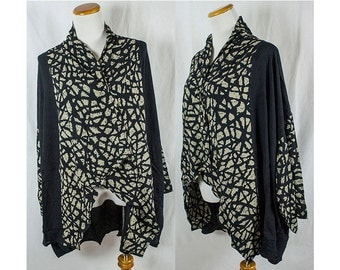 Vintage Batik Soft Rayon Black Jacket!! Plus Size One Size
