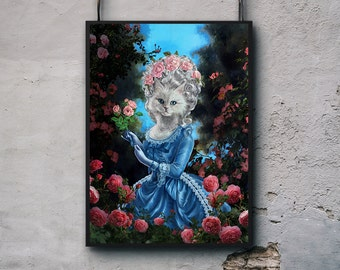"""Wallarts, Wall Decor, House Interior Decor, Gift for dad, gift for him """"White Cat as Queen of France Marie Antoinette holding Roses"""" Poster"""