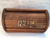 RESERVED!!    Vintage Brown Wood/Wooden Roll Top Bread Box.Country Kitchen Storage.Rustic Farmhouse Decor.Painted White Bread