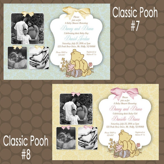 classic winnie the pooh baby shower invitations or thank you cards