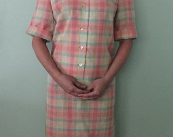 1960s Vintage Checked Shirtdress