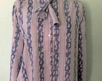 1970s Long Sleeved 1970s Button Up Alfred Dunner Blouse
