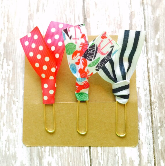 """Lilly Pulitzer """"Rock My Boat"""", Pink Dot, and Navy Stripes Ribbon Paper Clips - Set of Three - Great for Planners, Notebooks, Bookmarks, etc."""