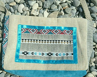 Beach bag burlap of ethnic style
