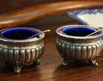 Two Silver Plate Salt Cellars