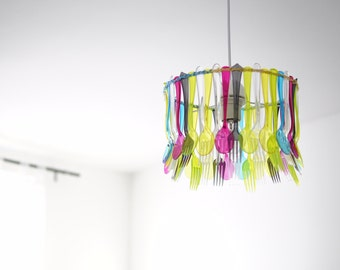 A table! Covered chandelier colorful handmade