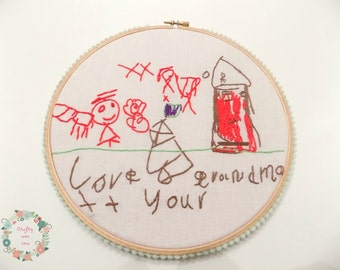Stitch-a-Pic childrens stitched drawing embroidery hoop wall art