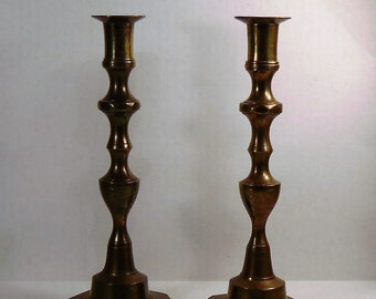 Vintage Brass Candle Holders, Set of Two, Brass Decor