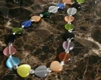Multicolor Catseye Stone Heart Necklace, 22 inch