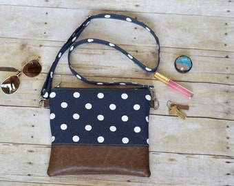 Cross body bag - cross body purse - hipster bag - blue polka dot purse - blue cross body bag - blue hipster bag - cross body