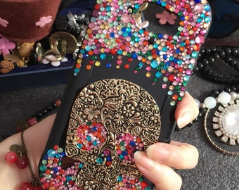 Bling Cute Punk Metal Skull Sparkly Crystals Colorized Gems Jewelry Rhinestones Diamonds Lovely Fashion Hard Cover Case for Mobile Phones