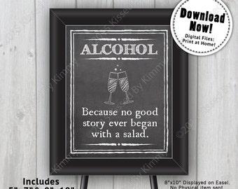 Chalkboard Sign - Alcohol Wedding Bar Sign - Printable Wedding Sign- 5x7 - 8x10 - Black & White Chalkboard Drink Sign - Bridal Shower Sign