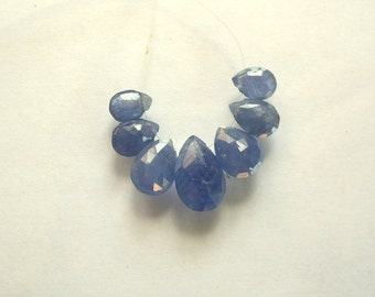 Blue sapphire faceted pear beads AAA 6.5-11mm 7pcs