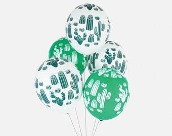 5 ballons cactus - Ballons vert et blanc imprimé cactus