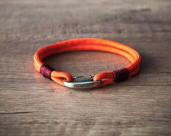 Sailor Bracelet men-Women, men's jewelry for women, nautical bracelet orange-burgundy, Christmas gift, bracelet for her and him