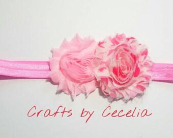 valentine's day headband, photo prop, baby headband, valentine's day gift, heart headband, pink heart, heart clip, pink chiffon heart shabby