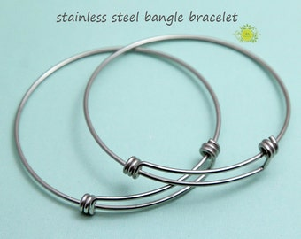 Stainless Steel Bracelets-Bangles-Charm Bracelets-Adjustable Bangle-Expandable Bangles Bracelet Blanks-Stainless Steel Wire Bangle-65mm