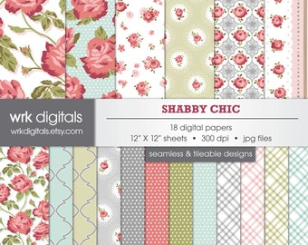 Shabby Chic Seamless Digital Paper Pack, Digital Scrapbooking, Instant Download, Floral Roses
