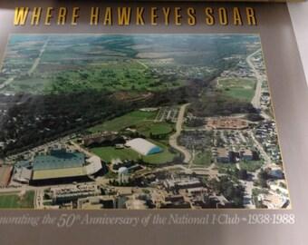 Where Hawkeyes Soar 1988 50th Anniversary I-Club Iowa Poster