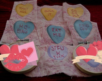 """Rude candy hearts, 3"""" mini-hoop with acrylic conversation heart and sarcastic phrase, naughty valentine heart candies,"""