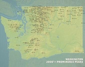 Washington Prominent Peaks Map 18x24 Poster