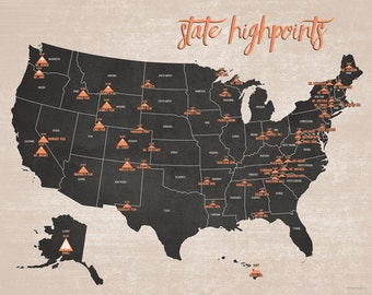 State High Points Map 11x14 Print