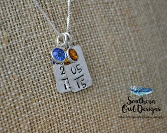 hand stamped date necklace - hand stamped mother's necklace - sterling silver - birthdate necklace - special date necklace, gift for her