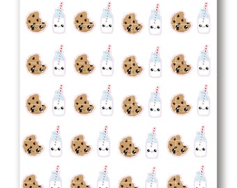 Kawaii Chocolate Chip Cookies and Milk Stickers