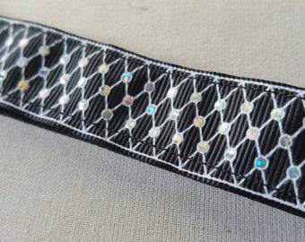 Black Sparkle Fishnet Non Slip headband, No slip headband, fishnets, sparkle headband, velve headband, Swanky Bands