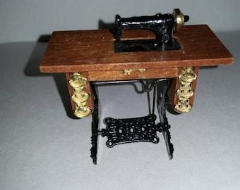 Vintage Miniature Dollhouse Wooden Sewing Machine