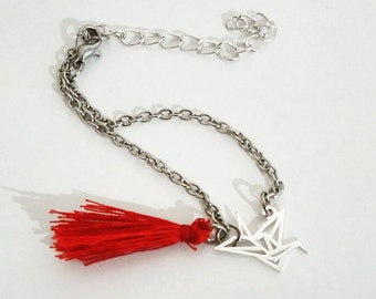Bracelet Origami crane in money and his red Pompom