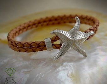 Sterling Silver Starfish Bracelet Sterling Silver Bracelet leather And Silver Bracelet