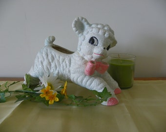 Vintage Lamb Baby Planter--White With Pink Bow, Perfect for a Nursery