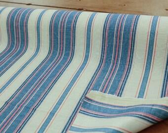 Pink/Blue/Cream Striped Drapery Fabric