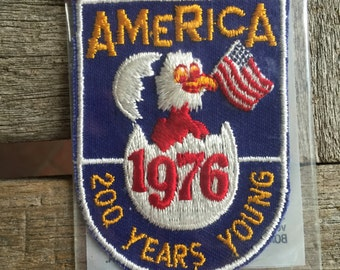 America 1976 200 Years Young Vintage Travel Souvenir Patch from Voyager