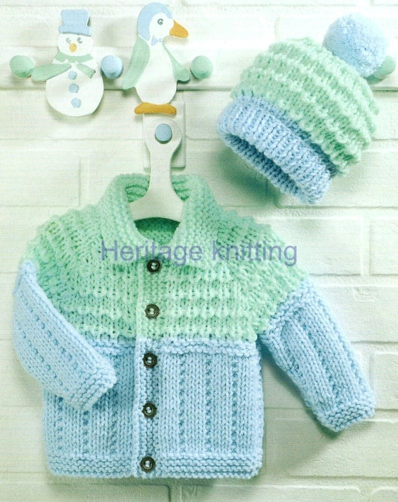 Chunky Knit Baby Cardigan Pattern Free : baby childrens jacket and hat chunky knitting pattern 3